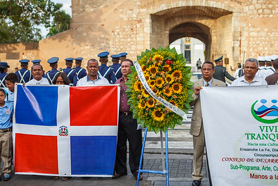 Proud Dominicans in front of Parque de Independencia, during the Dominican Independence Day