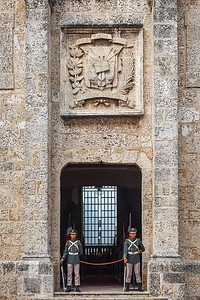 Dominican Honor Guard outside Panteon Nacional, originally built as a church in the 1700s but later served as a theater where independence from Haiti was planned