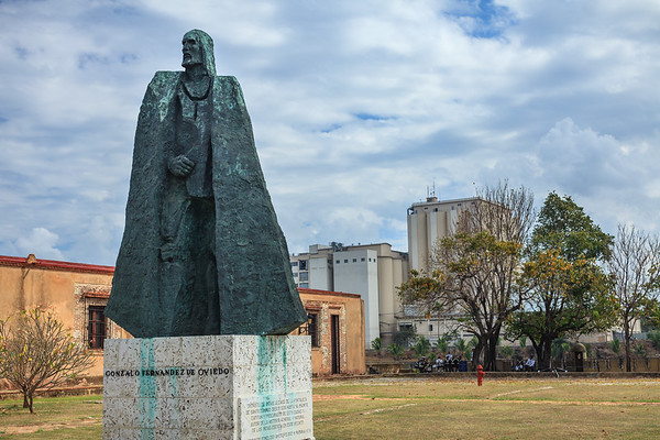 A statue of Gonzalez Fernandez de Oviedo, Spanish historiographer of the Indies, standing in Fortaleza Ozama of which he was in charge for a short period.  Santo Domingo