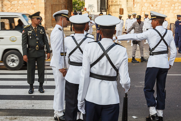 Members of the Dominican Navy assemble for parade & review by the President at Parque de Independencia, during the Dominican Independence Day