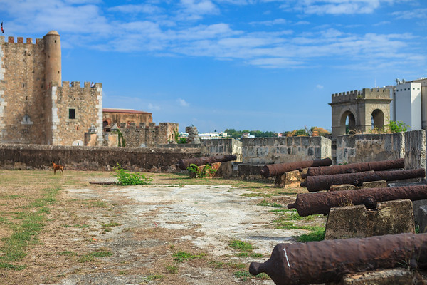 "The 16th-century ""shooting platform"" at Fortaleza Ozama in Santo Domingo, with the Tower of Homage in the background"