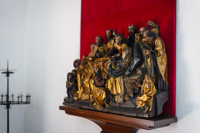 Sculpture depicting Mary on her deathbed, surrounded by the Apostles, from the 17th century, in Alcazar de Colon.  Santo Domingo.