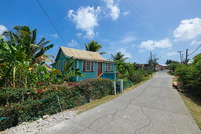 Windward is a very colorful town - including the houses, vegetation, and people.