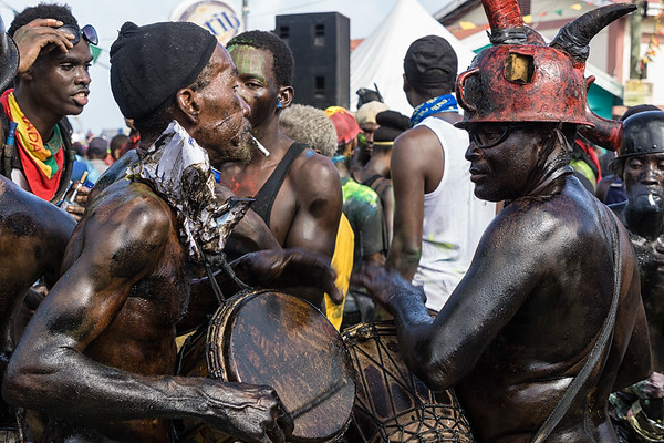 The jab jabs drumming during j'ouvert.