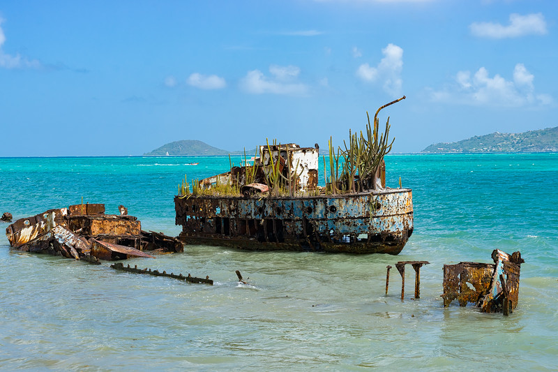 An old wreck in Watering Bay, Windward.