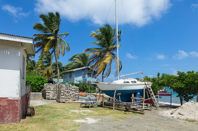 """A sailboat on stands at the """"fishermen's disco"""" in Windward."""