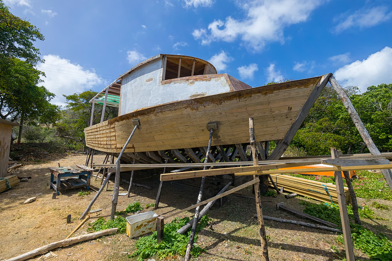 One of the traditional hand-built boats of Windward.  This one a fishing boat as is obvious from the pilothouse.