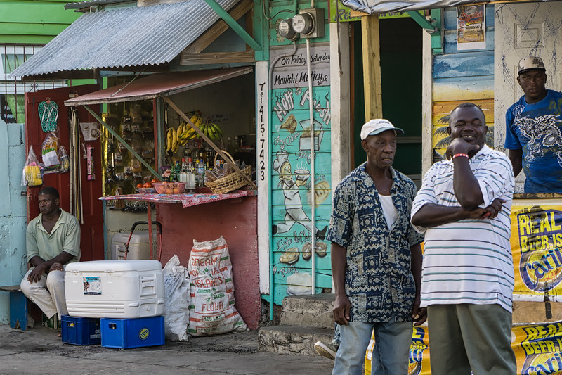 Rum shops and markets in Hillsborough during Carnival.