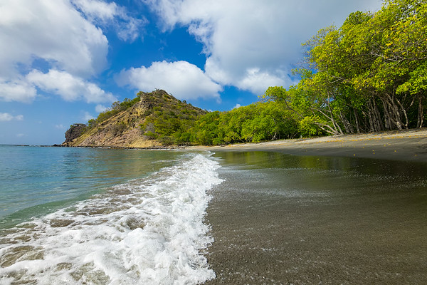 Secluded Black Sand Beach on the west end of Carriacou.