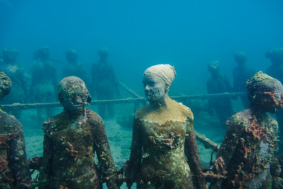 Sea growth is constantly altering the appearance and shapes of these sculptures.