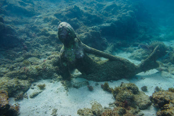 Mermaid figure in Grenada's underwater sculpture park