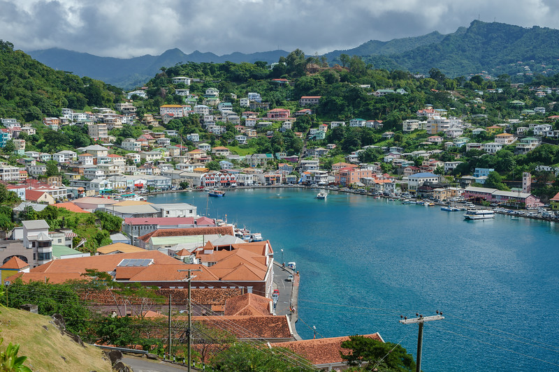 Views of the Carenage, St. George's Town, Grenada, from Fort George.