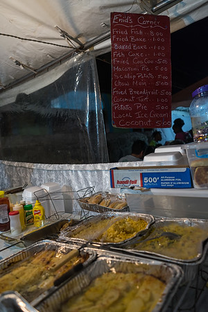 One of the menus at a vendor booth at Gouyave's weekly fish fry.