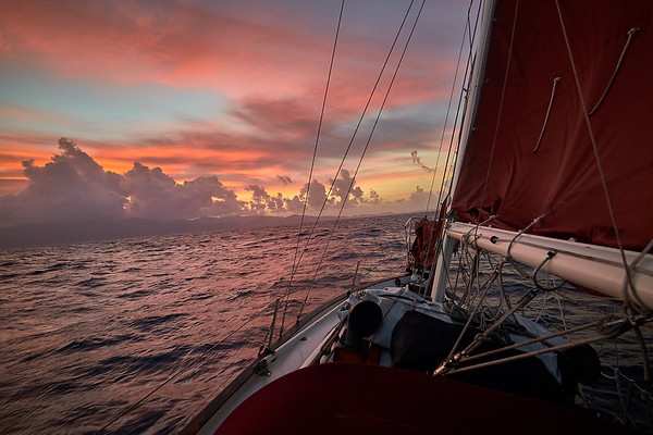Sunrise while sailing into the southwest coast of Grenada.