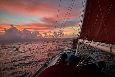 Sunrise while sailing into the southwest coast of Grenada.