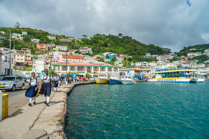 Crowds walking along the Carenage in St. George's, Grenada.