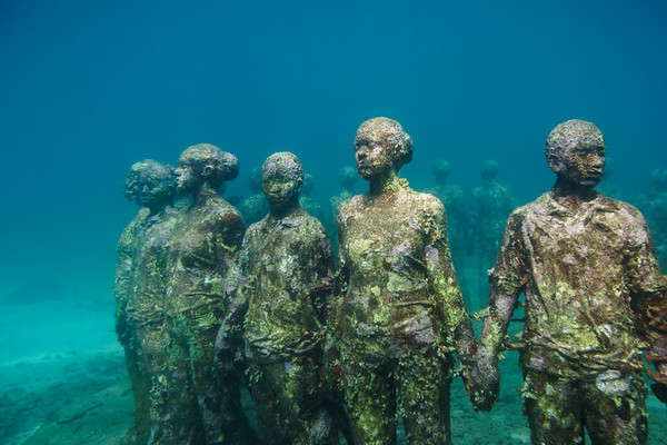 The underwater sculpture park in Dragon Bay, Grenada