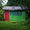 "One of Grenada's ""Janet Houses"", prefabbed huts shipped in from Venezuela after Hurricane Janet destroyed the island in 1955."