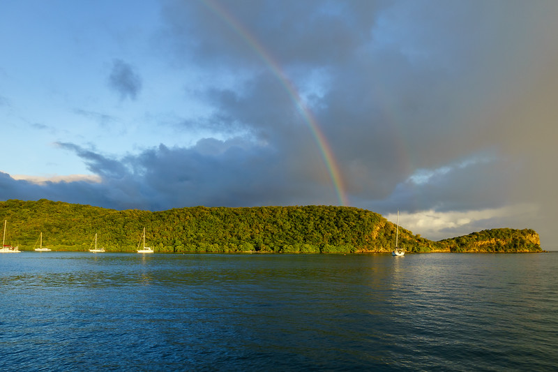 A rainbow and a half over Mount Hartman Bay.