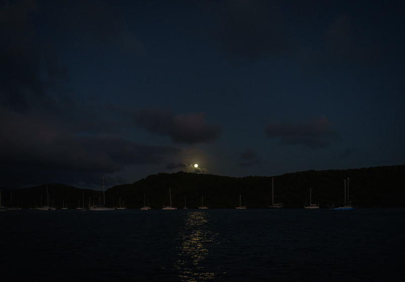 Moonrise over Mount Hartman Bay, Grenada.