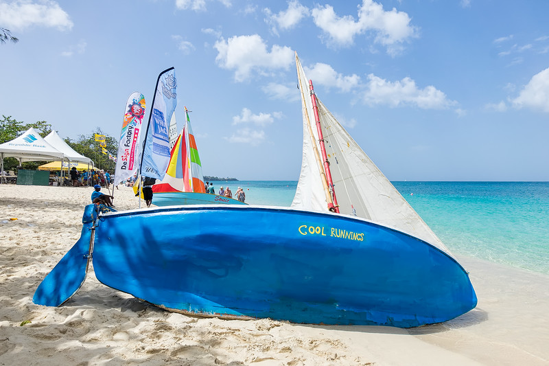 Workboats lined up on Grand Anse Beach.