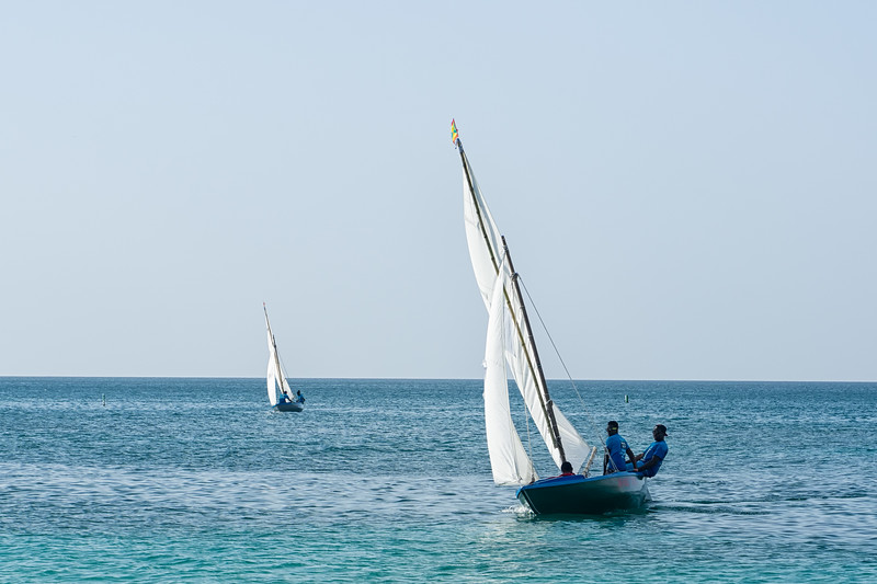 Workboats coming into the finish at the Grenada Sailing Festival
