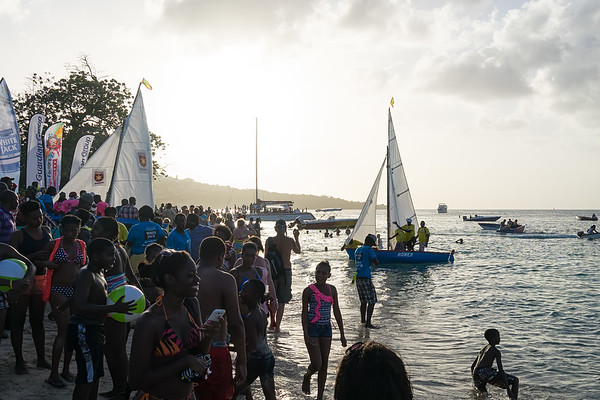 Boats coming in to the finish at Grand Anse Beach.