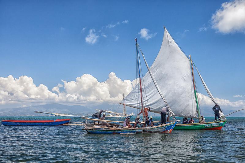 Sailboats off the coast of Ile A Vache, Haiti.