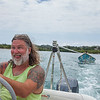 Wayne goofing off as we tow Silnor with supplies to the other side of the island.