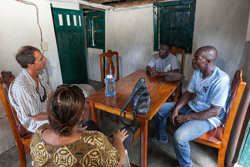 "Phelix, Bienamié, Mandy, and Jan discuss their upcoming meeting with the commissioner of Ile A Vache regarding the ""takeover"" of their own school."
