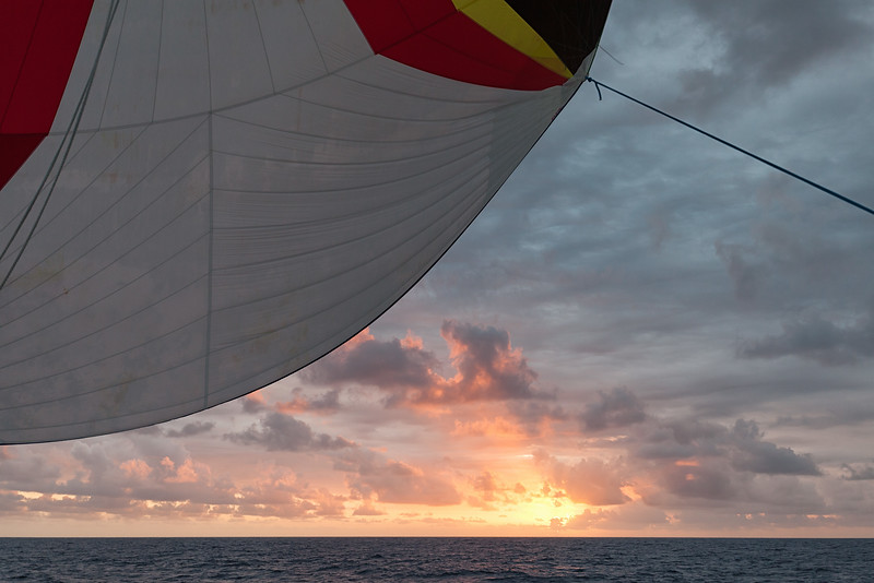 Sunset during our westbound crossing of the Mona Passage.