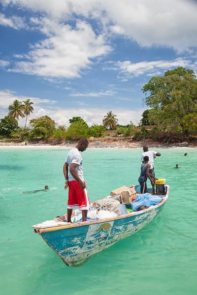 Taking donated supplies ashore in La Hatte, Ile A Vache, Haiti.