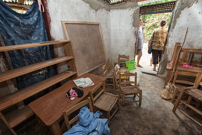 This is the tiny room currently being used as a kindergarten until the main school in La Hatte is operational.