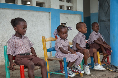 The younger students waiting for class to start.