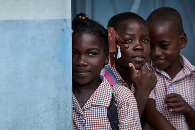 Shy children at the La Hatte school.