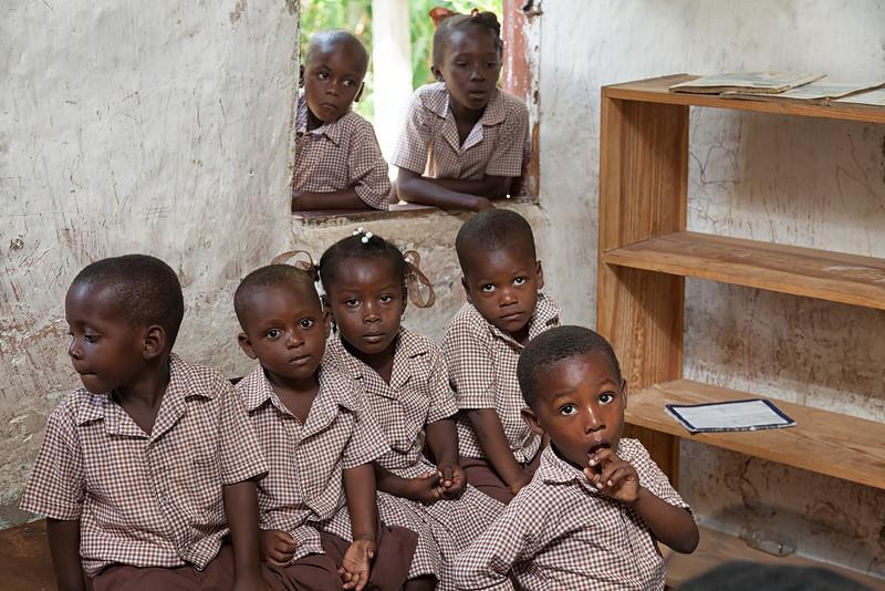 Children wait their turn for their health assessment.