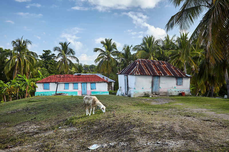 One of the colorful house on the hillsides of Ile A Vache