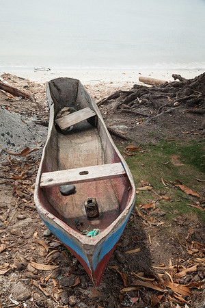 One of the typical dugout canoes in Ile A Vache, on the beach in La Hatte.