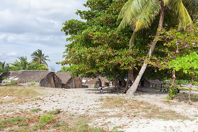 Thatch housing on Pierre La Lanterne, a tiny cay near Ile A Vache.  A handful of large grass houses provide shelter for the 200 inhabitants.