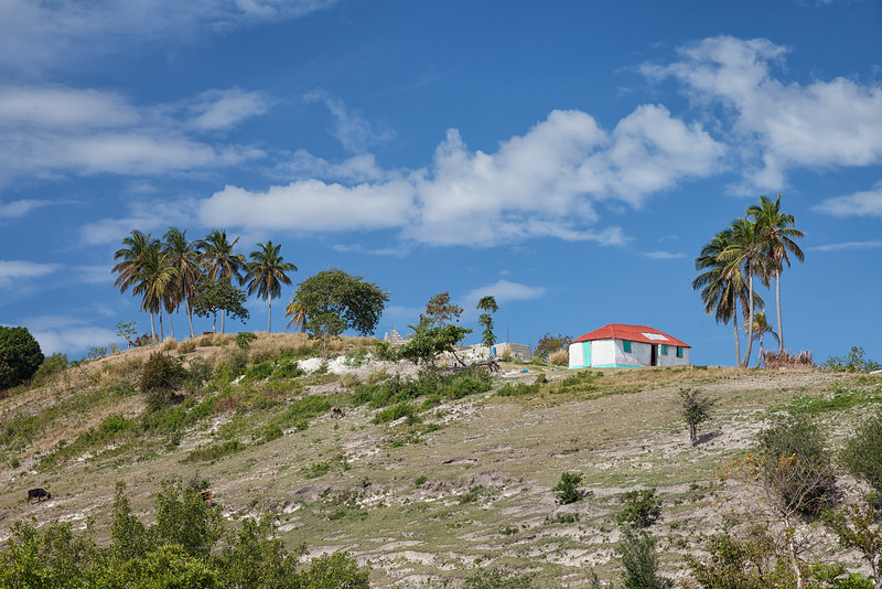 One of the colorful houses on Ile A Vache, Haiti, overlooking Tou Milieu.
