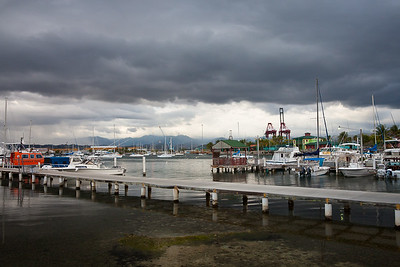 Storm clouds over Ponce Yacht Club and La Guancha (boardwalk).