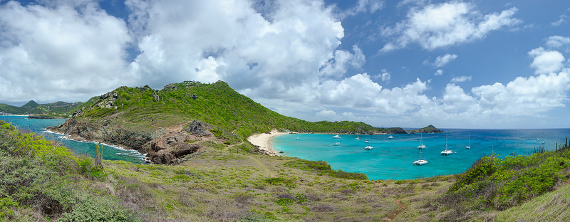 Panorama from atop Anse de Columbier.  10785 x 4207 pixels.
