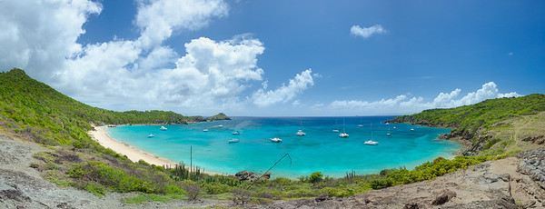 Panorama of Anse de Columbier.  11728 x 4485 pixels.