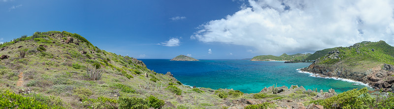 Panorama looking north from Anse de Columbier.  15254 x 4232 pixels.