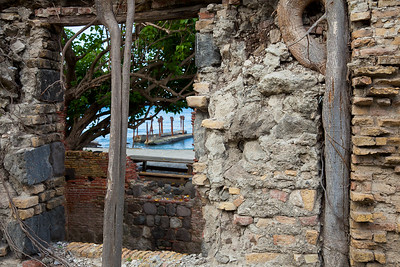 """Remains of 18th & 19th-century warehouses line the entire length of """"Lower Town"""", Oranjestad"""