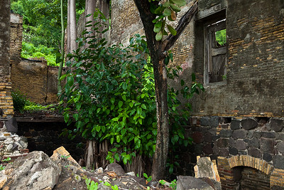 Remains of old warehouse buildings in Lower Town, Oranjestad