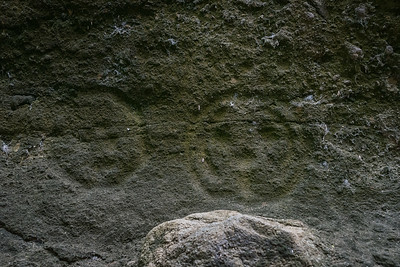 Petroglyphs of presumably human faces in the western part of the canyon.