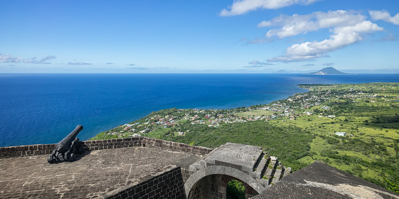 Looking out towards St. Eustatius and Saba from atop The Citadel at Fort George.