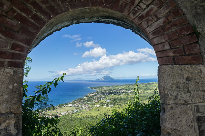 Looking towards St. Eustatius and Saba from a window in Fort George.