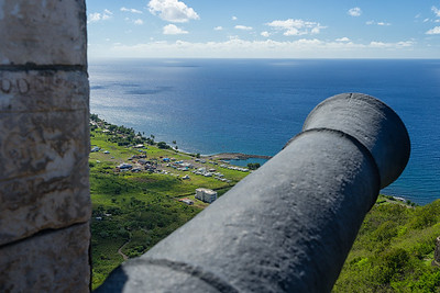 The boatyard I'm at has 24-hour security, and for a little added comfort, cannons on the hill above.